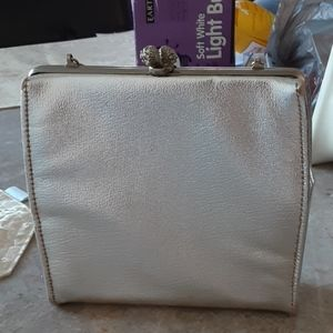Silver womens hand bag with chain